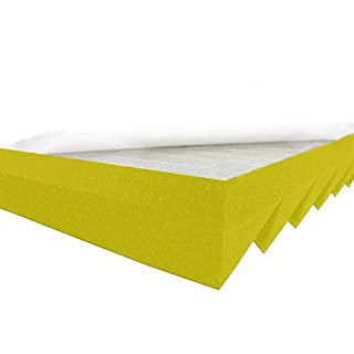 Akustikpur Acoustic Foam Triangle Profile Slat Wave Panels Colour Yellow Self-Adhesive, Approx. 49 x 49 x 5 cm) Sound Insulation Mats for Effective Acoustic Insulation