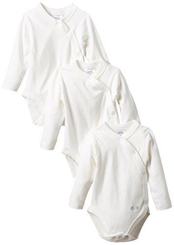 Twins Unisex Baby Langarm-Wickelbody im 3er Pack, Gr. 56, Weiß (weiss 110601)