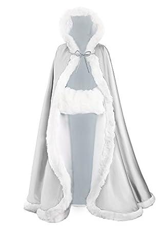 Femme Cape à Capuche Fourrure Longue de Mariée Chaude Capuchon Manteau de Mariage Par BEAUTELICATE