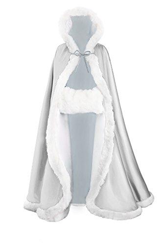 Umhang Damen Mit Kapuze Cape Hochzeit Braut Winter Mit Pelzbesatz in Voller Länge Mehrere Farben FREIER HAND MUFF von (Cape Silber)