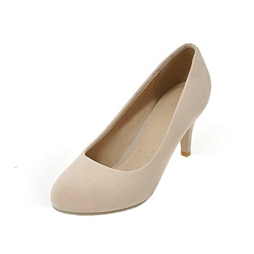 (AgooLar Damen High-Heels Rund Zehe Rein Ziehen auf Pumps Schuhe, Cremefarben, 35)