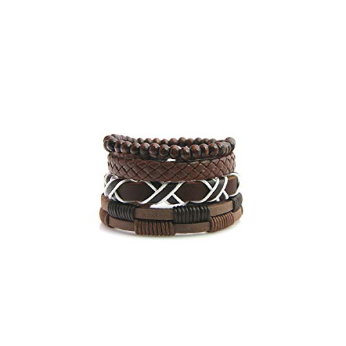 Armband Armreif, Schmuckgeschenk,4Pcs/Set Leather Bracelet Men Multilayer Bead Bracelet Punk Wrap Bracelets for Women Vintage Punk Men Jewelry Multi Color Select HJT26