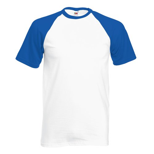 Shortsleeve Baseball T-Shirt von Fruit of the Loom S M L XL XXL verschiedene Farben Weissroyal