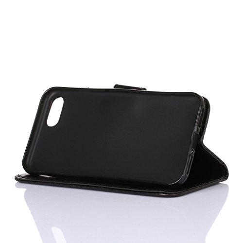 """Trumpshop Case Coque Housse Etui de Protection pour Apple iPhone 6/6s Plus 5.5"""" + Noir + Ultra Mince Portefeuille PU Cuir Avec Fonction Support Anti-Choc Anti-Rayures Noir"""