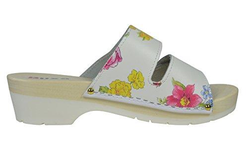 Buxa Cuir Sabots/Sandales Femme avec Double Velcro Bracelet et Sole en Caoutchouc Fleur