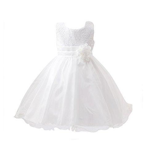 Live It Style It Ragazze Paillettes Abito Fiore Principessa Senza Maniche Formale Partito Matrimonio White 9-10 Anni