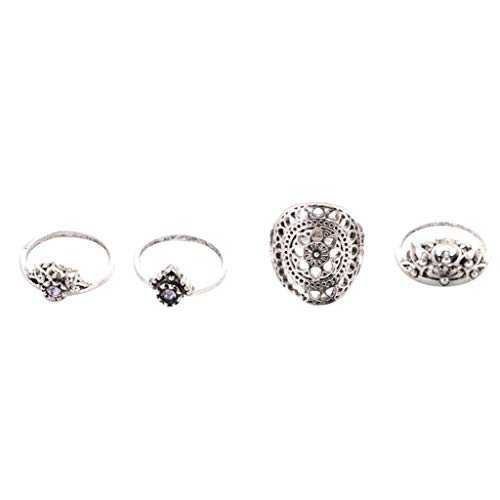 DQANIU  Frauen Ringe Set, 4PC Frauen Retro National Purple Edelstein Durchbrochene Blume Stil Ring Schmuck
