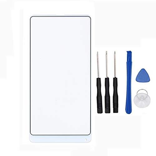 Soliocial Reemplazo de Pantalla Frontal de Vidrio Exterior para Xiaomi Mi Mix 2/ Mi Mix2/ Mi Mix EVO (Not LCD and Not Digitizer) Blanco