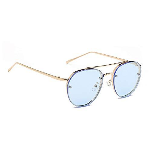 Anti-Reflektierende UV400 Oversize Gläser Bunte Ocean Gläser Objektiv Sonnenbrille Alloy Frame Fashion Stilvolle Brillen - Gold Rim Blue Lens