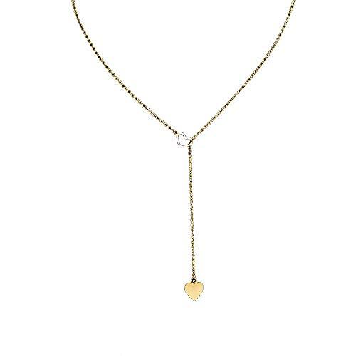 Tingsu collana, beauty charm da donna in acciaio inox, ciondolo a cuore (argento)