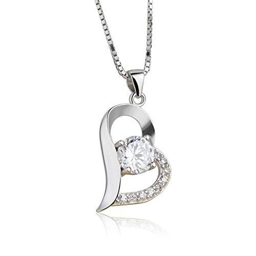 CCWANRZ Damen Anhänger Halskette 925 Sterling Silber platiniert Halsketten Anhänger für Frauen Geburtstagsgeschenke Herz Schmuck Weiß Lila Farbe, lila mit Kette