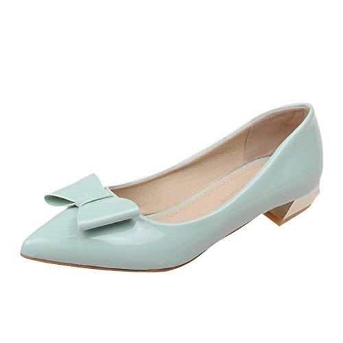 MissSaSa Damen modern Pointed Toe Chunky heel Low-cut Lackleder Pumps mit Schleife (38, Grün(hellgrün))