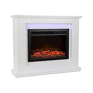 Klarstein Salzburg Electric Fireplace with Flame Effect • Electric Fireplace • 1000 or 2000 Watt • InstaFire • Thermostat • Weekly Timer • Remote Control • White