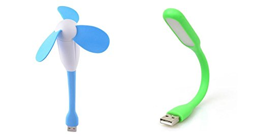 LipiWorld Mini Portable & Flexible USB Fan + LED Light Lamp For Laptop/ Desktop/ Powerbank/ All Mobile (USB Light + USB Fan)  available at amazon for Rs.179