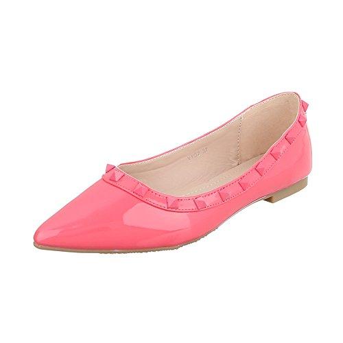 Ital-design Ballerine Scarpe Da Donna Chiuso Blocco Tallone Tacco Ballerine Rosa Rosa Xy02