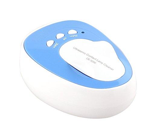 Ultraschall Kontakt Linsen Reiniger und Sterilisator–Schnell komplett Objektiv reinigen und Protein Entferner, blau, 3200
