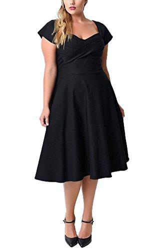 MILEEO Damen A-Linie Retro Vintage Rockabilly Kleid Knielang V-Ausschnitt Kurzarm Abendkleid große Größen Schwarz