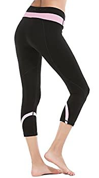Deeptwist Womens Yoga Pants Running Capri Leggings Power Flex Workout Tights With Back Zipper Pocket Pink, Uk-dt4004-pink-12 2