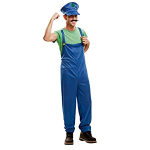 My Other Me Me-202076 Disfraz de súper plumber para hombre, Color verde, M-L (Viving Costumes 202076