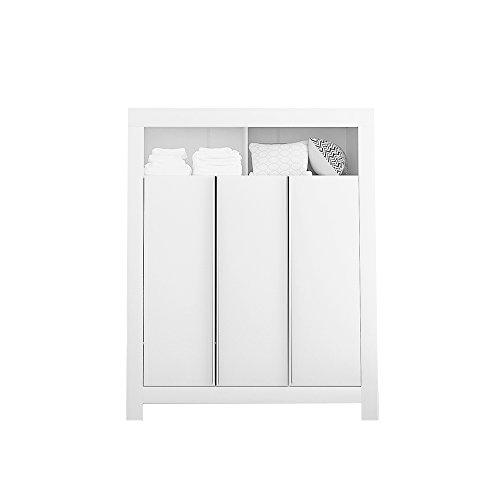 Felix Babyzimmer Wickelkommode Babybett Kleiderschrank Weiß oder Akaziengrau (Weiß, 3-türiger Kleiderschrank)
