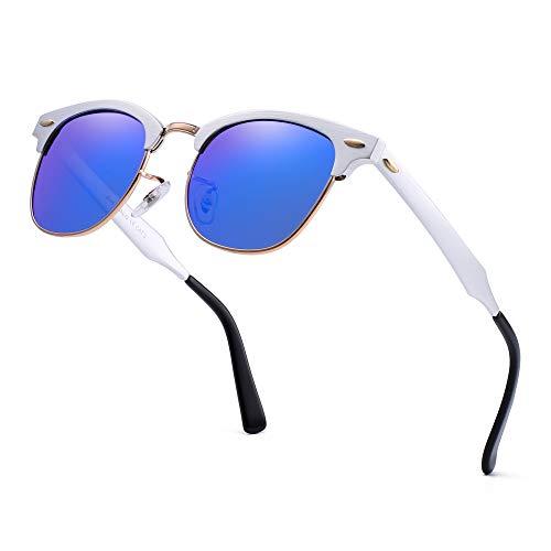 a7ce20f3a9 JIM HALO Semi Sin Marco Polarizadas Gafas de Sol Retro Aluminio Metal Sin  Montura Lentes Anteojos