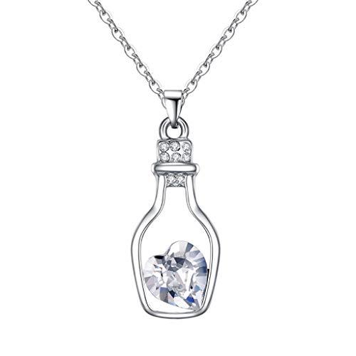 Mypace Anhänger Gold Silber 925 Für Damen Mode Frauen Drift Bottle Halskette Österreich Kristall Herz Halskette - Love Secrets Flasche Schmuck (Klar)
