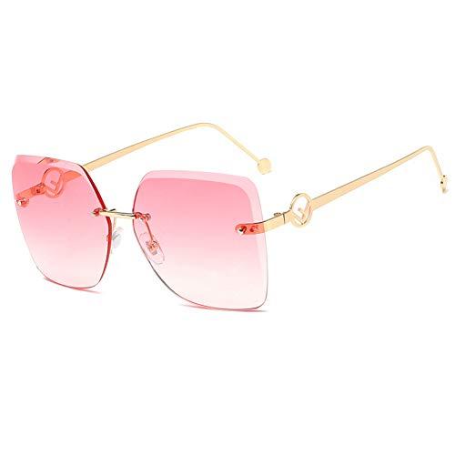 ZHENCHENYZ Rahmenlose Sonnenbrillen weibliche Marine Film Mode Brillen Farbe Square Trim Europa und den Vereinigten Staaten Big Box Sonnenbrillen Männer