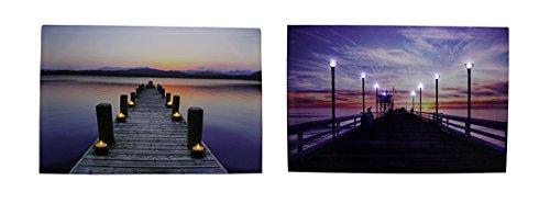 Serene Pier bei Sonnenuntergang LED-beleuchteten Leinwanddruck Set -