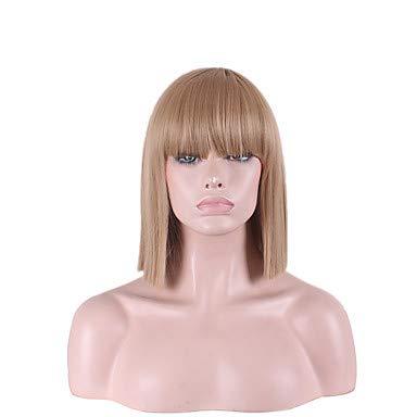 FUHOAHDD 40cm Kurze Blonde blau Art und Weise gerade Perücken für hohe Temperaturbeständigkeit Faser Nachtclub tragen Perücken Cosplay Frauen, Dark Blue