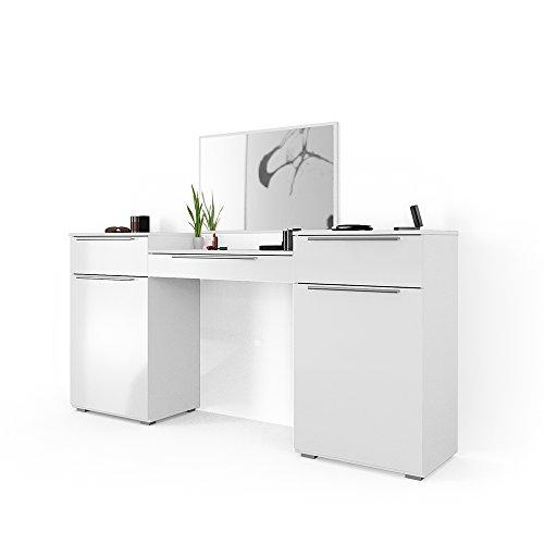 VICCO Frisiertisch Weiß Hochglanz - Schminktisch Kosmetik Set Design Kommode mit Spiegel (Groß)