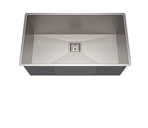 B37 Imported Garnet Series Hand Made, Satin Finish Stainless Steel Kitchen Sink (Size: 24X18X9 Bowl Size: 22X16) with Coupling & Fruit Basket