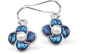 Natural Abalone Paua Shell Pearl embellished Flower Drop Earrings in delicate blue/green (P252)