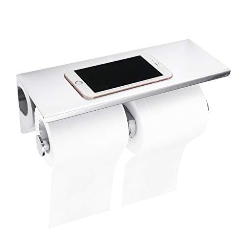304 Toilettenpapierhalter Doppelrolle Wird nicht fallen, Badezimmer Toilettenpapier Rollenhalter Robust mit mobiler Telefon Aufbewahrungsfläche Wand Montage