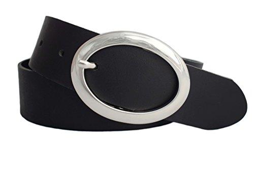 GREEN YARD Weicher Ledergürtel für Damen mit edler Gürtelschnalle in schwarz, 4 cm breit, Damengürtel, Schwarz, 105 cm (Gesamtlänge 120 cm)