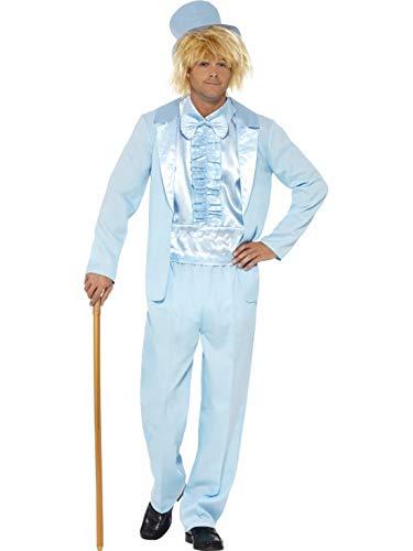 Halloweenia - Herren Männer 90er Jahre Tuxedo Anzug Kostüm mit Jacket, Hose, Mock Shirt und Hut, perfekt für Karneval, Fasching und Fastnacht, L, Blau (Dumm & Dümmer Kostüm)