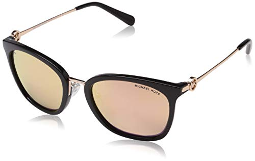 Michael Kors Damen LUGANO 3005N0 53 Sonnenbrille, Black/Rosegoldmirrorpolar,