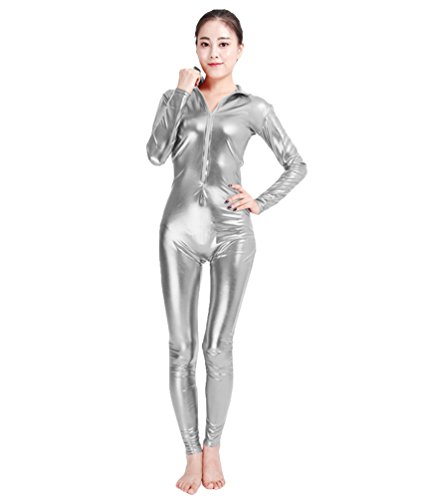NiSeng Erwachsener und Kind Kostüm Catwoman Halloween Karneval Ganzkörperanzug Eleganter Jumpsuit Catsuit Bodysuits SilberS