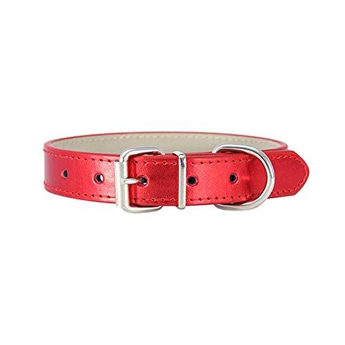 Halsband for Hunde PU-Gewebe Größen 19cm-45cm Halsband Hunde Klein (Color : Red, Size : M)
