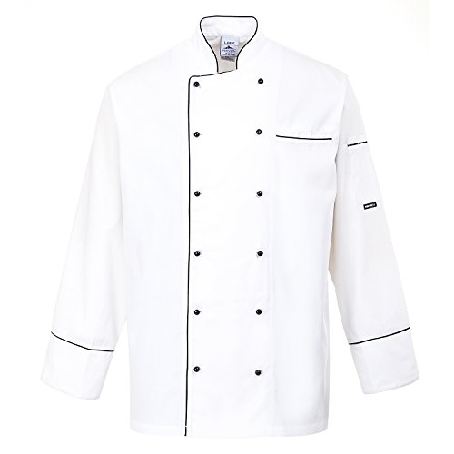 Portwest C775 - Chaqueta Chef Cambridge, color Blanco, talla Small