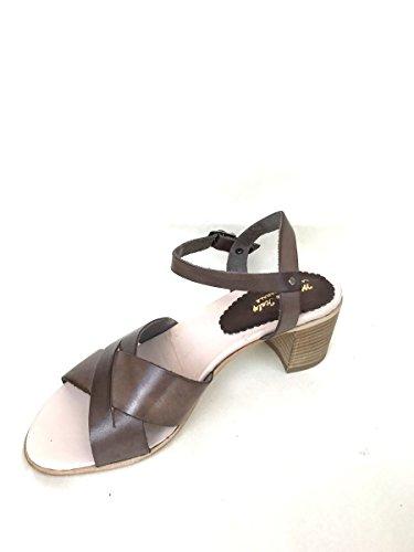 Sandali tacco 5 cm nn22 in pelle blu cuoio taupe cinturino MainApps Tortora