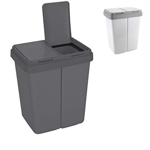 Ribelli Zweimer Duo Müllbehälter mit Deckel Kunststoff Mülleimer für die Küche geruchsdichter Abfalleimer Mülltrennsystem 2 x ca. 30 Liter - Farbe: Anthrazit