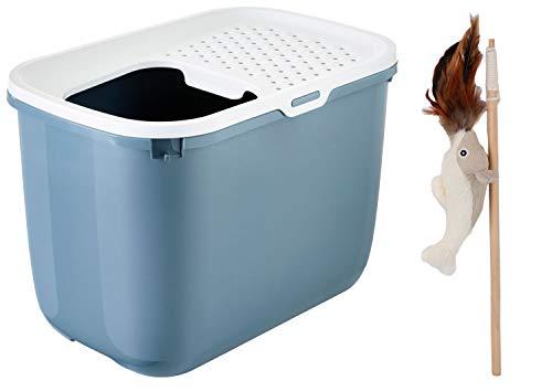 PETGARD Katzentoilette Katzenklo HOP IN mit Einstieg von Oben Bluestone-Weiss + gratis Katzenangel