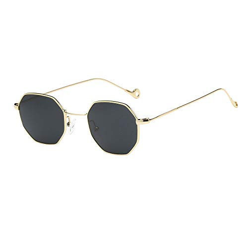 BOLANQ Nützlich Sonnenbrille, Frauen Männer Mode Metall Unregelmäßigkeiten Rahmen Brille Marke Klassische Sonnenbrille(Grau)
