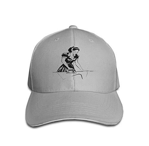 Xunulyn Men's Vintage Dad Cowboy Hat Adjustable Baseball Cap Ink Black White Lady Ironing Vintage Iron Woman Ironing (Iron Mann Lady Kostüm)