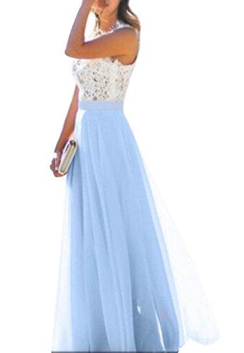OMZIN Damen Vintage Spitze Chiffon Festlich Party Gewand Hochzeit Lang Kleid Blau M