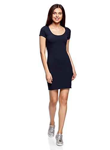 oodji Ultra Damen Enges Jersey-Kleid, Blau, DE 40 / EU 42 / L