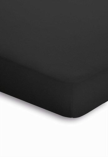 Schlafgut Boxspring Spannbetttuch für Matratzen mit oder ohne Topper, für Höhen von ca. 25 - 40 cm - Grösse 180/200 x 190/200/210/220 cm - Härtegrad 075 - Schwarz