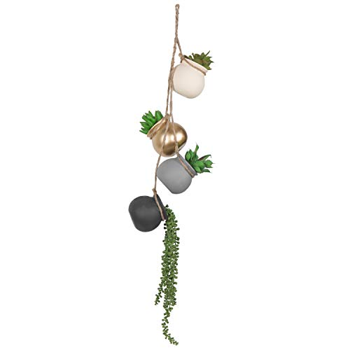 MyGift 4-teiliges Blumentopf-Set zum Aufhängen, mit Jute-Seil