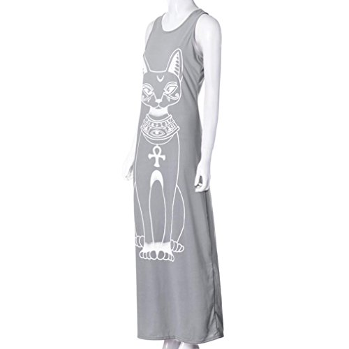 Rcool Frauen-Katze gedrucktes ärmelloses Kleid Boho langes Cocktailparty-Strand-Kleid Grau