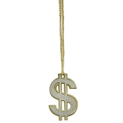Kostüm Silber Dollar - Fenteer Dollar Anhänger Halskette Goldkette Kostüm Zubehör, Cosplay für Pimp und Hiphop Rapper - 7 x 4.5 cm